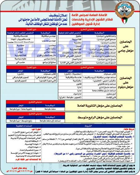 وظائف جريدة الراي الكويتيه السبت 23-03-2013 | وظائف خالية في الكويت 11 جماد أول 1434 السبت