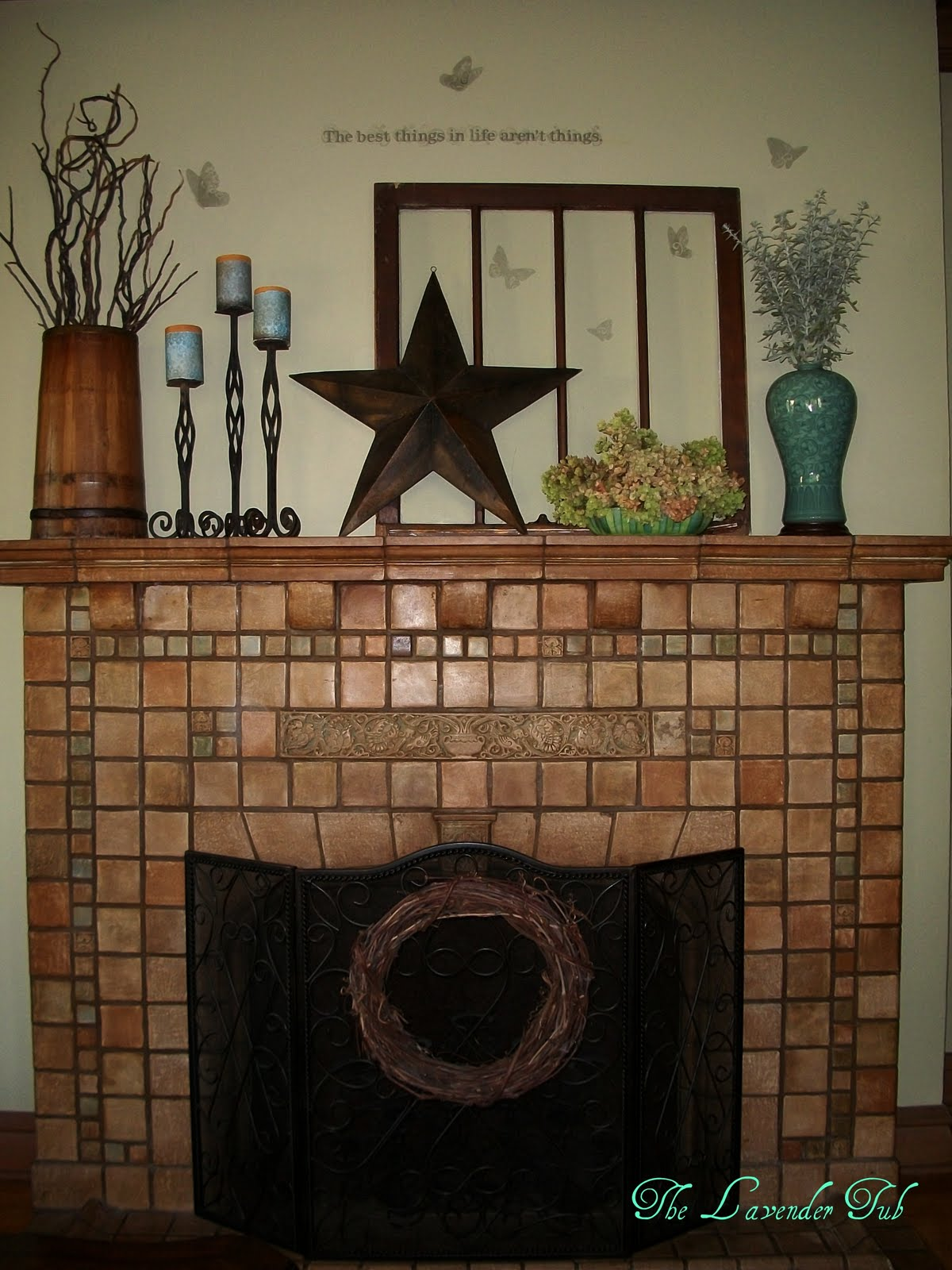 The lavender tub batchelder fireplace summer mantel for Prairie style fireplace