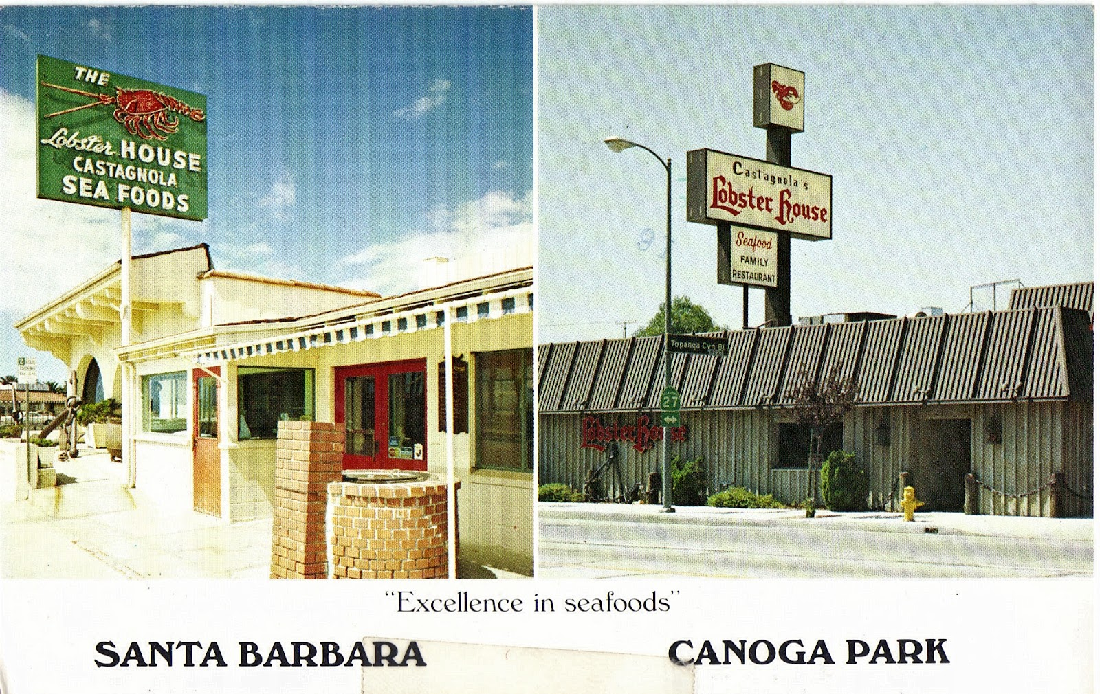 Castagnolau0027s Lobster House In Canoga Park Postcard