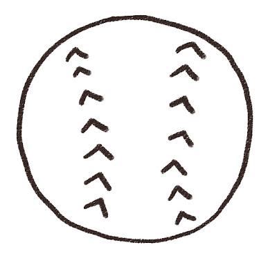 野球のボールのイラスト(スポーツ器具) モノクロ線画