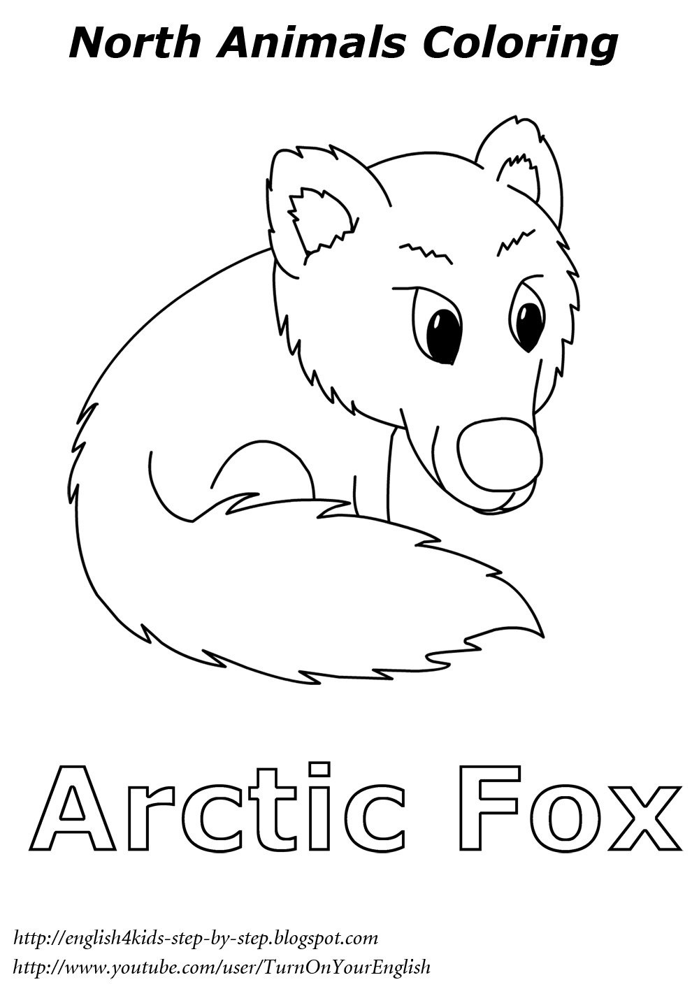 Arctic Animals Song For Children Arctic Fox Coloring Page