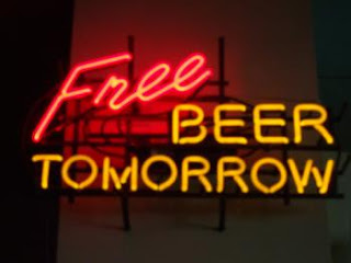 Free Beer Tomorrow neon light sign joke