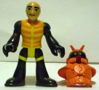 Front of unknown bug man action figure with helmet off