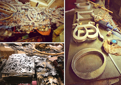 Leigh's metalwork: components for the signage and oak leaves for the chandeliers (bottom left)