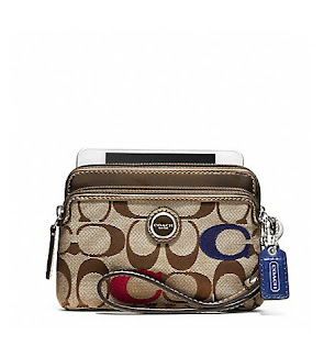 Ready Stock Coach Poppy Embroidered Signature Double Zip Wristlet #48424 Multicolor