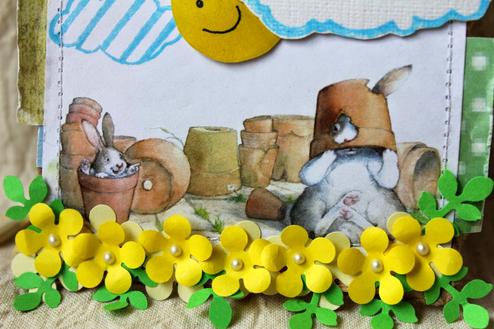 тег, цветы, зайцы