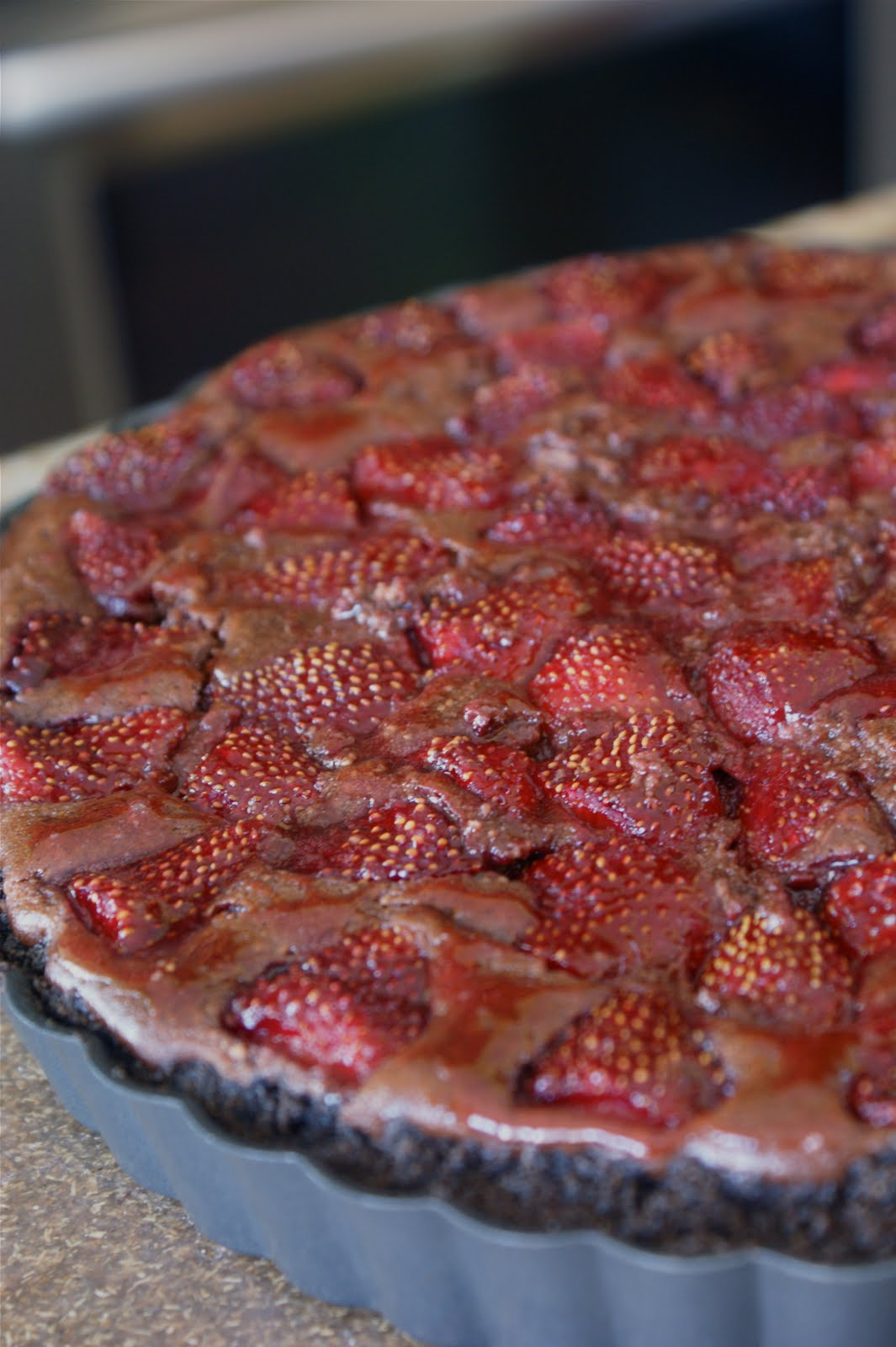 Bananas For Bourbon: Chocolate Strawberry Ricotta Tart