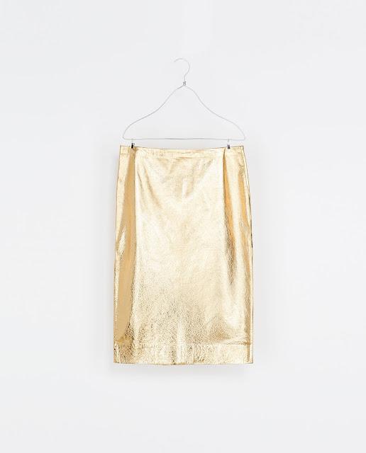 Gold leather Zara skirt