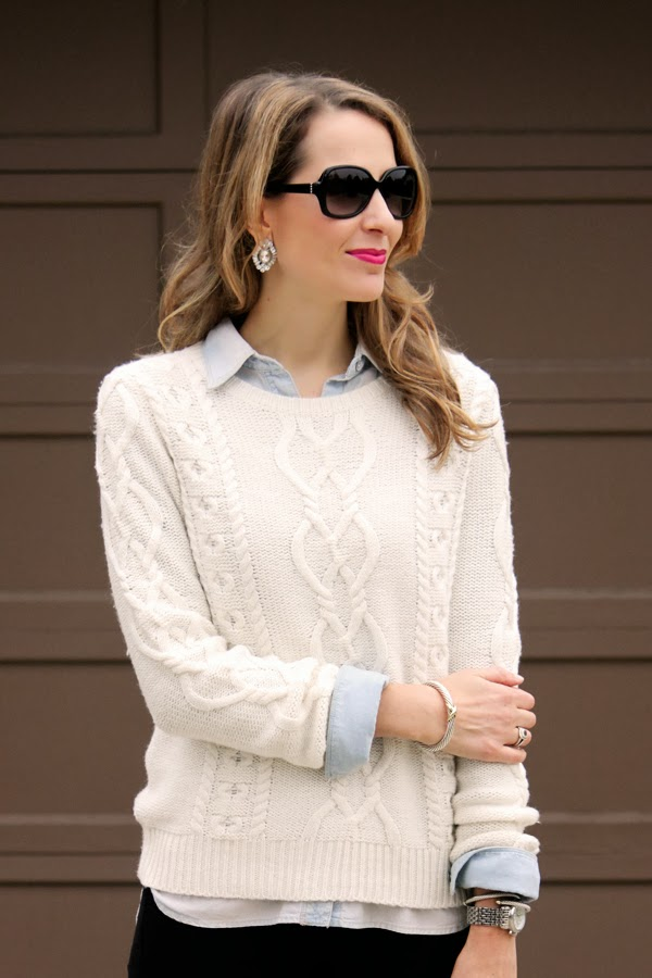 Chunky sweater + statement earrings