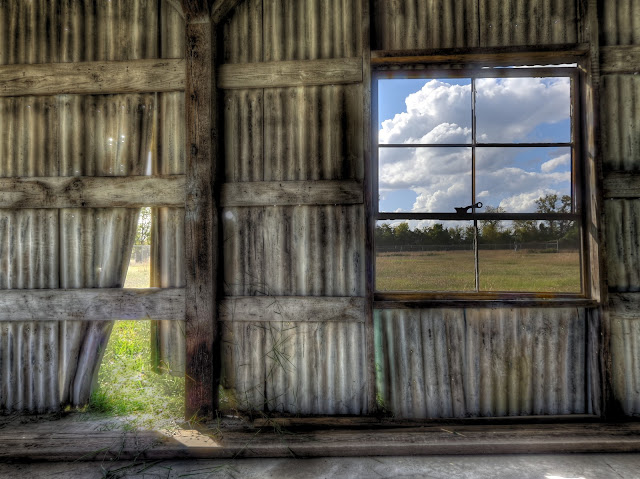 Window on the west - west facing barn window - HDR - Houston texas