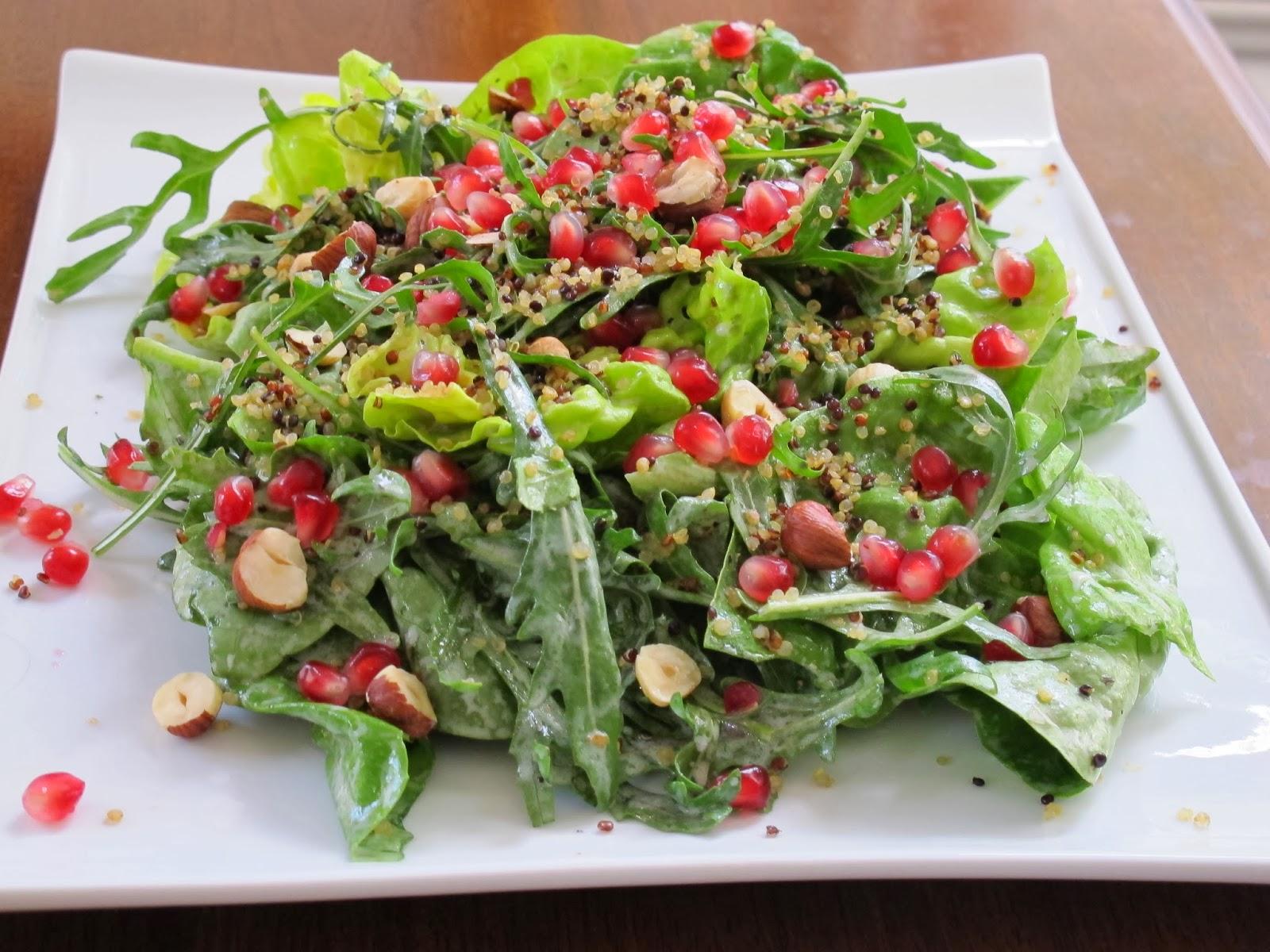 Green Salad with Crispy Quinoa and Pomegranate