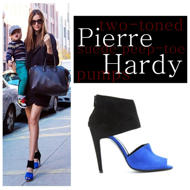Miranda Kerr wearing Pierre Hardy two-tone suede sandals