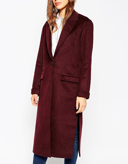 asos burgundy maxi coat