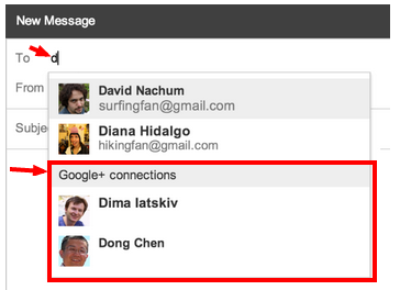come mandare email contatti Google + da gmail impostazioni ricezione nuovi messaggi