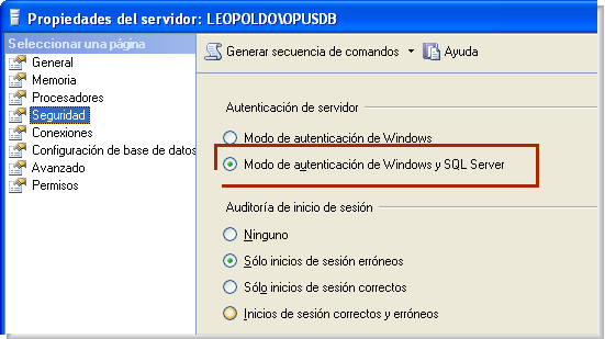Opus Planet 020 Modo de autenticación SQL SERVER OPUS PLANET