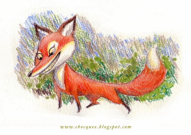 Mixed media illustration of a fox