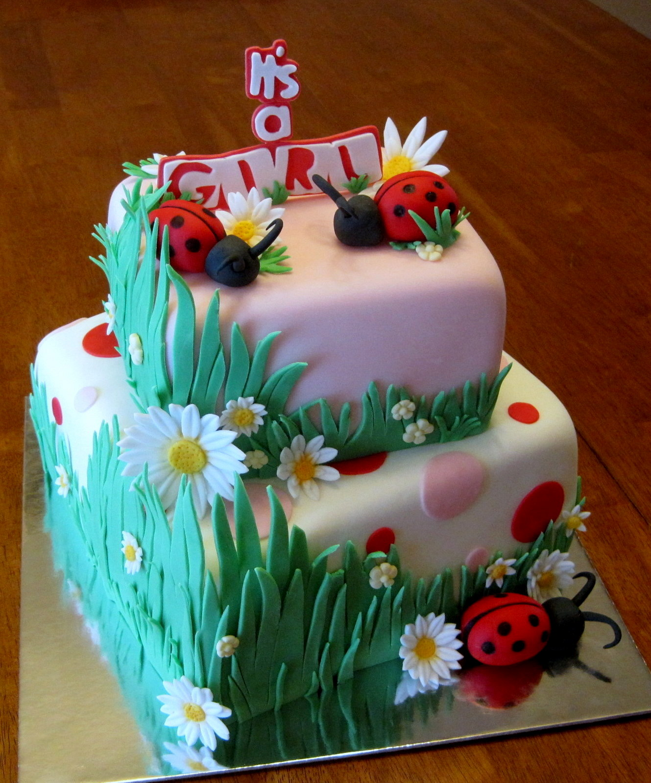 Cake Decorating Making Grass : Custom Cakes By Stef: Ladybugs in Grass Cake