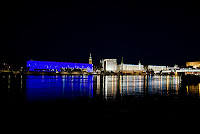 nightly illumination of the Danube in Linz - Austria