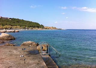 The beach outside the Mytilene Harbor on Lesbos.  The castle is visible on the hill.