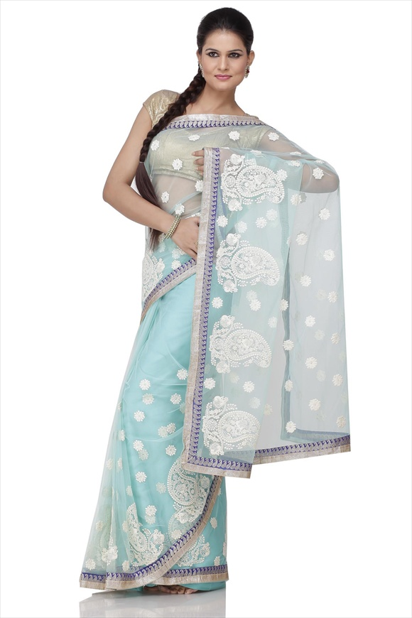 Mist Green Net Saree