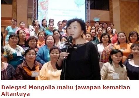 Delegasi Mongolia mahu jawapan kematian Altantuya