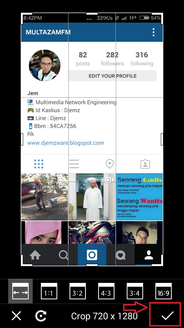 Cara membuat Instagram In Hand Pilih Centang Oke