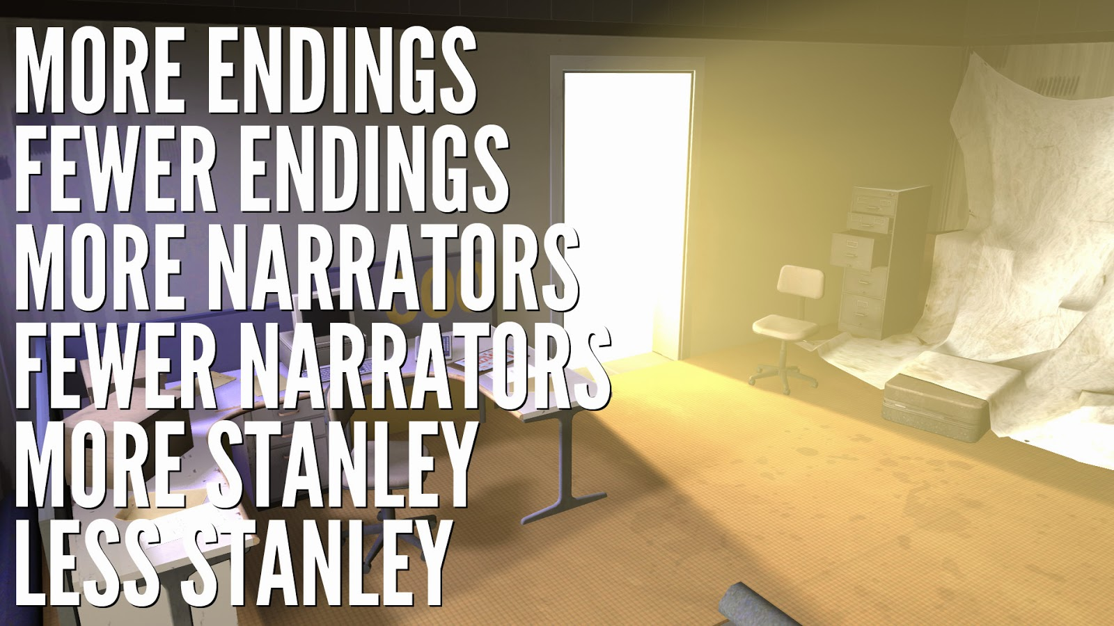 A picture of Stanley's office, where the caption repeatedly contradicts itself on what the game offers.