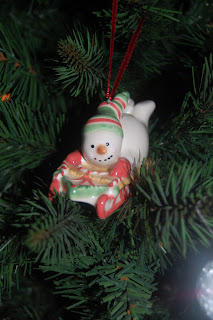 Snowman bauble for the tree, snowman sledging!