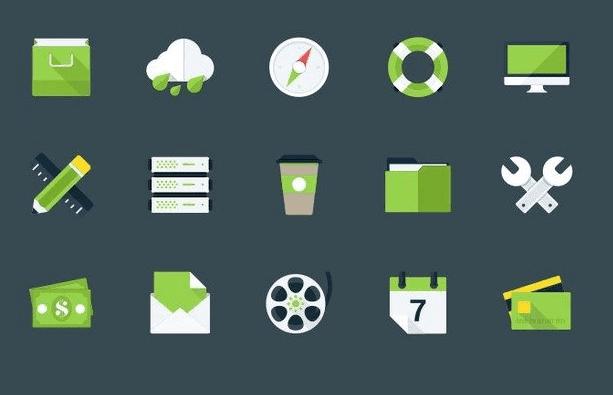 Modern Flat Icons (PSD, AI)