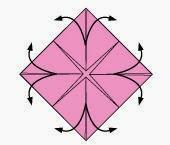 Bước 6: Mở 4 góc của tờ giấy theo chiều từ trong ra ngoài (từ điểm cuối của 2 mũi tên kéo ra ngoài) và làm phẳng 4 góc.