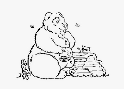 Bear with Honey Coloring Pages