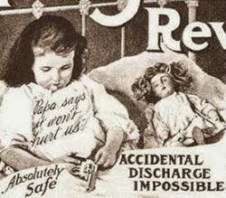 Propaganda do revolver Iver Johnson que fez uso de crianças para representar segurança do produto.