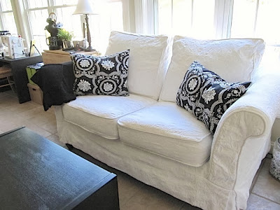 couch in sewing room