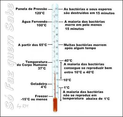 Quadro mostrando o que acontece com as bactérias em determinadas temperaturas