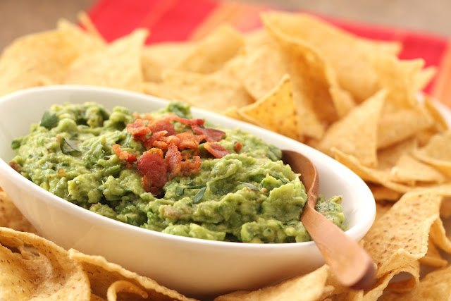 Roasted Garlic and Bacon Guacamole from Barefeet in the Kitchen [Recipe Round-Up at A Little Seed Grows]