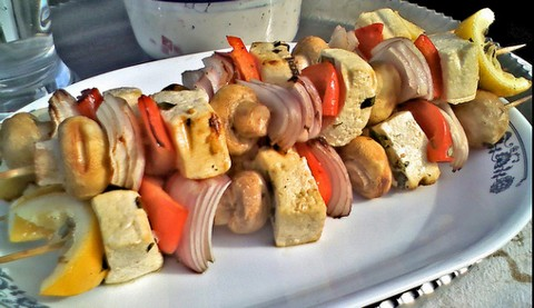 Grilled Tofu Kebabs with Mushrooms and Bell Peppers