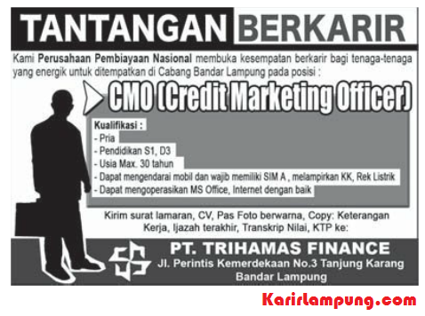 Lowongan Credit Marketing Officer PT. Trihamas Finance Bandar Lampung