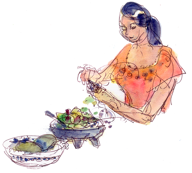 Shiho Nakaza people sketch guacamole food cooking watercolor pen