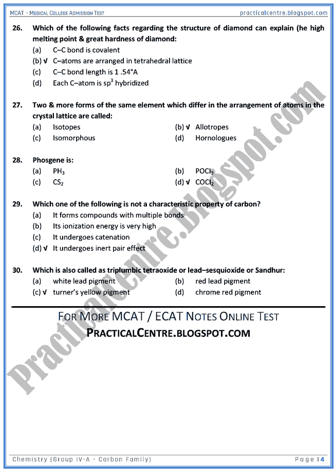 mcat-chemistry-group-iva-(carbon-family)-mcqs-for-medical-college-admission-test