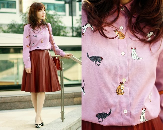 Oasap Cat Embroidered Button-up Shirt