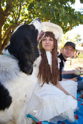 country lolita coord at picnic with cute dog