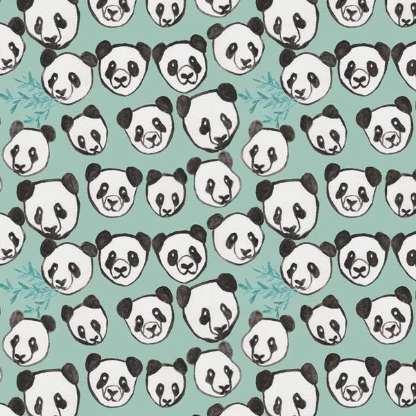 Watecolor Chinese Pandas Pattern by Abby Galloway
