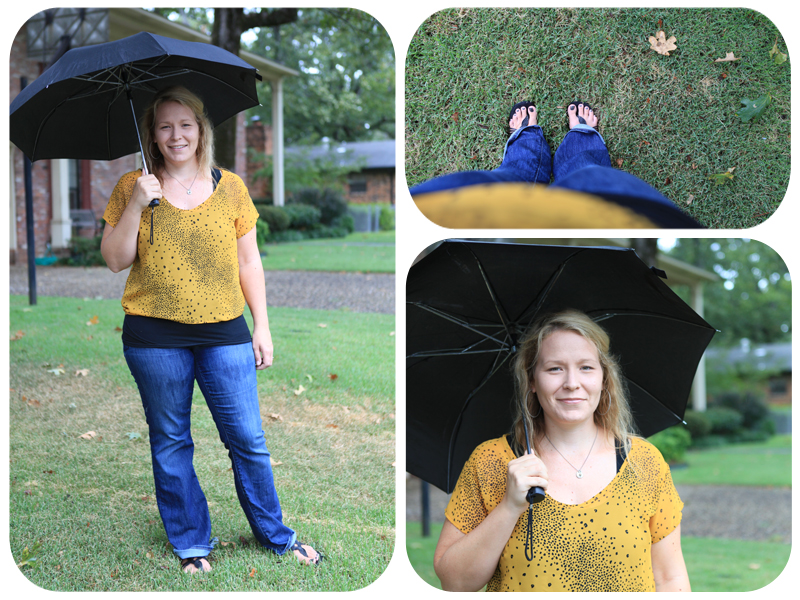 yellow shirt, umbrella, what i wore wednesday, jeans