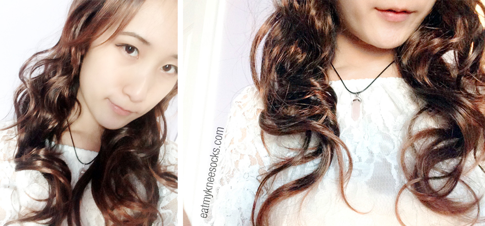 Photos in the ulzzang-style curly long haired brown wig from Milanoo.