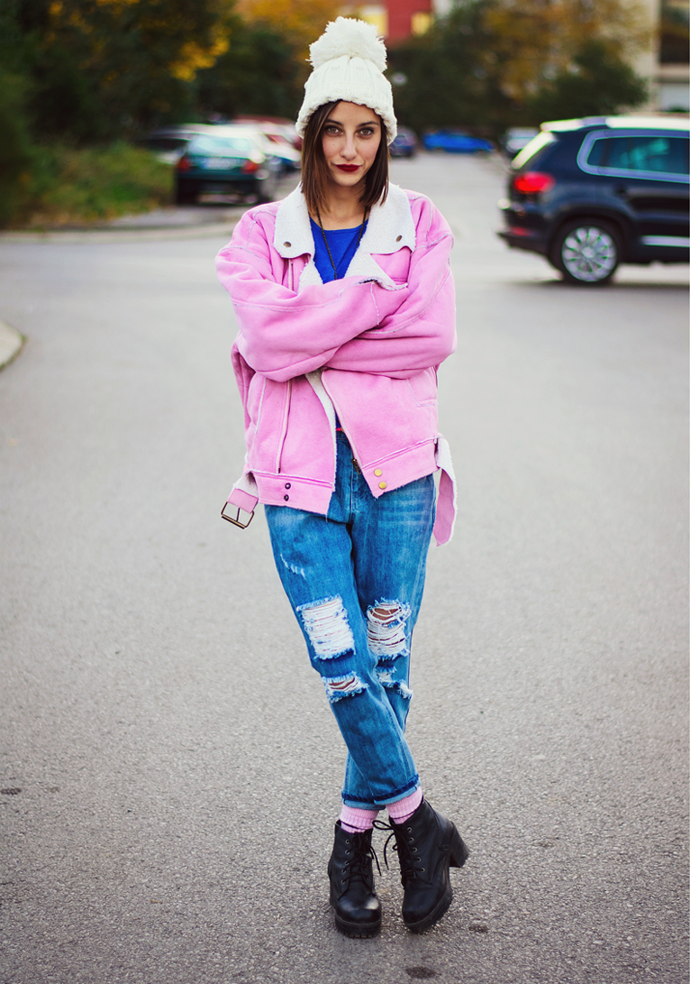 Choies Pink Shearling Coat