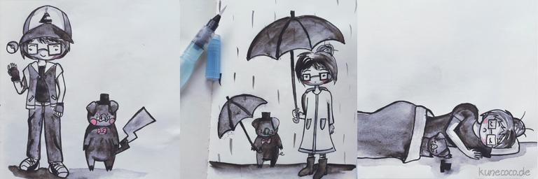 KuneCoco • Inktober Teil 2 • Pokémon, Regen und eine Mütze Schlaf