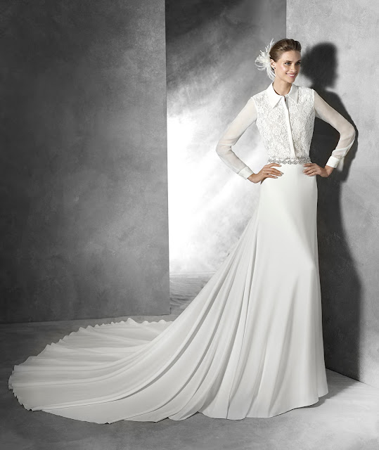 2016 Pronovias long sleeved shirt with A-line silk veil skirt