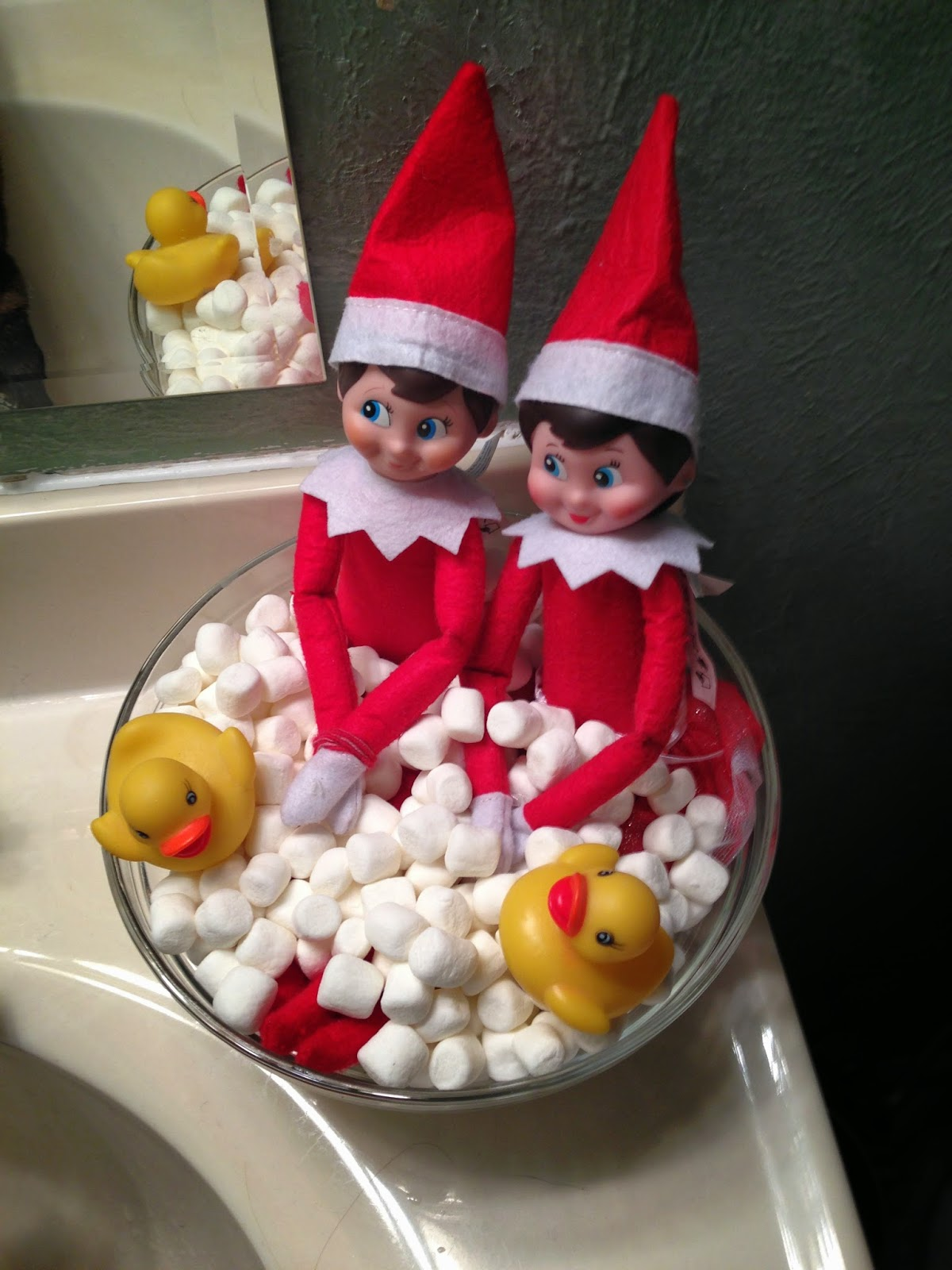 Elf on the shelf fun with 2 elves building our story for Elf on the shelf bathroom ideas