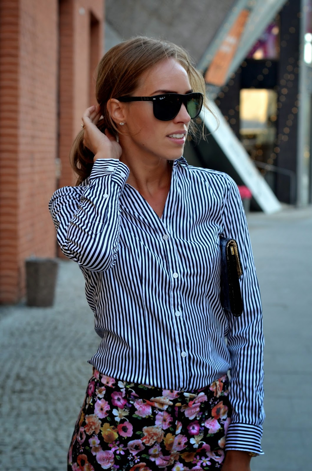 ray abn sunglasses striped hm shirt