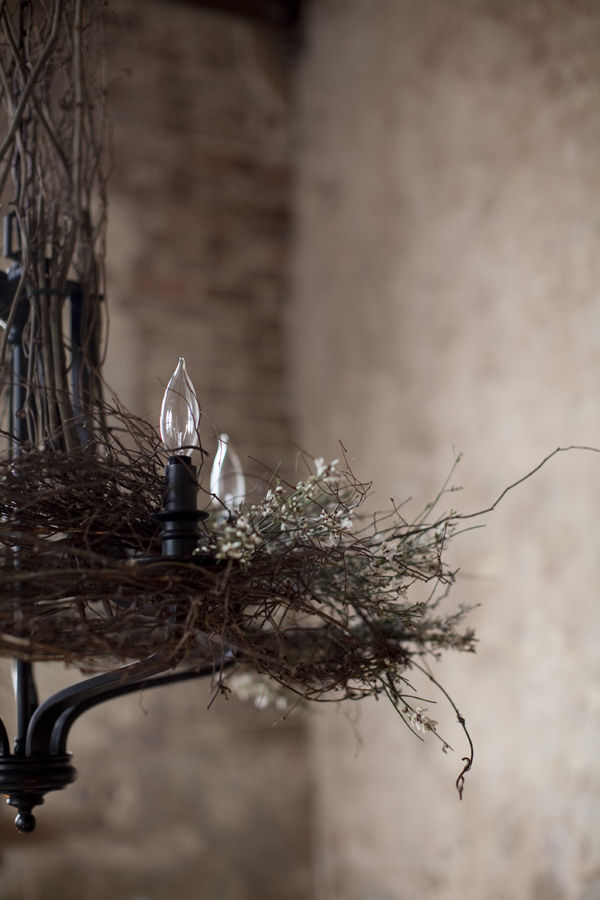 Dishfunctional designs decorating with bird nests birdcages bird nest chandelier via glitter and pearls mozeypictures Image collections